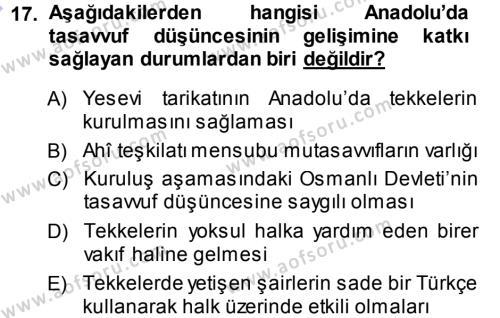 Türk Halk Şiiri Dersi Ara Sınavı Deneme Sınav Soruları 17. Soru