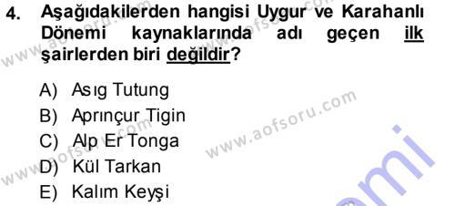 Türk Dili ve Edebiyatı Bölümü 5. Yarıyıl Türk Halk Şiiri Dersi 2014 Yılı Güz Dönemi Ara Sınavı 4. Soru