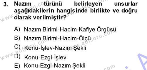 Türk Halk Şiiri Dersi 2013 - 2014 Yılı (Final) Dönem Sonu Sınav Soruları 3. Soru