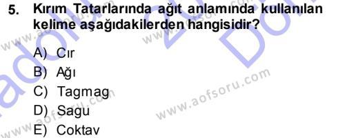 Türk Dili ve Edebiyatı Bölümü 5. Yarıyıl Türk Halk Şiiri Dersi 2014 Yılı Güz Dönemi Dönem Sonu Sınavı 5. Soru