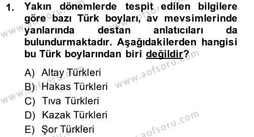 Türk Halk Şiiri Dersi 2014 - 2015 Yılı (Vize) Ara Sınav Soruları 1. Soru