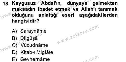 Türk Halk Şiiri Dersi Ara Sınavı Deneme Sınav Soruları 18. Soru