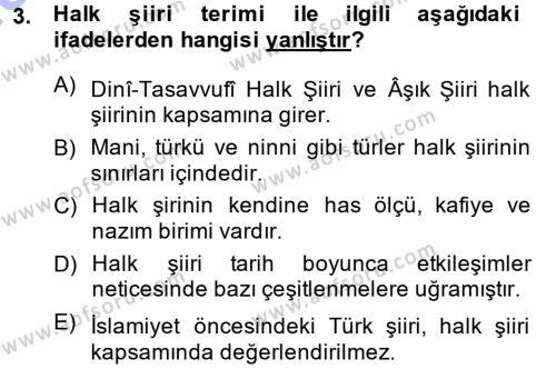 Türk Halk Şiiri Dersi 2014 - 2015 Yılı (Vize) Ara Sınav Soruları 3. Soru