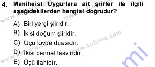 Türk Halk Şiiri Dersi 2014 - 2015 Yılı (Vize) Ara Sınav Soruları 4. Soru