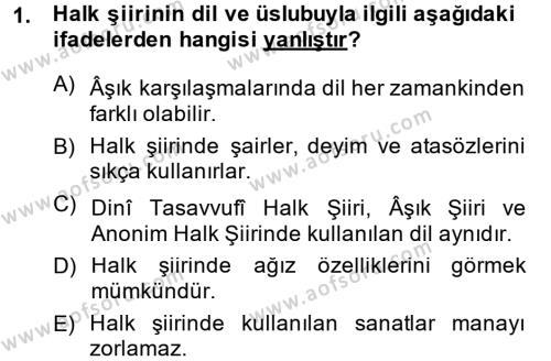 Türk Halk Şiiri Dersi 2014 - 2015 Yılı (Final) Dönem Sonu Sınav Soruları 1. Soru
