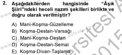 Türk Halk Şiiri Dersi 2014 - 2015 Yılı (Final) Dönem Sonu Sınav Soruları 2. Soru