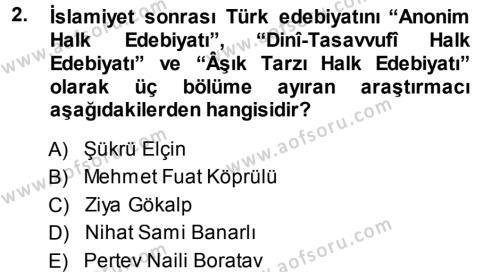 Türk Halk Şiiri Dersi 2014 - 2015 Yılı Tek Ders Sınav Soruları 2. Soru