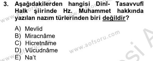 Türk Halk Şiiri Dersi 2014 - 2015 Yılı Tek Ders Sınav Soruları 3. Soru