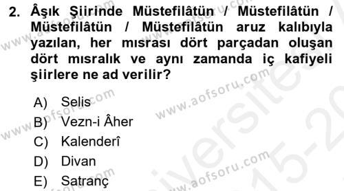 Türk Halk Şiiri Dersi 2015 - 2016 Yılı Tek Ders Sınav Soruları 2. Soru