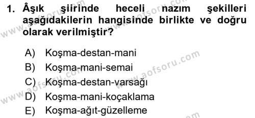 Türk Halk Şiiri Dersi 2016 - 2017 Yılı 3 Ders Sınav Soruları 1. Soru