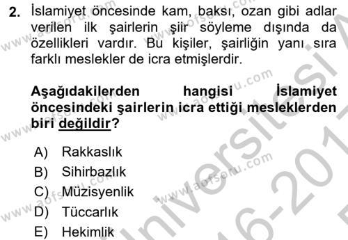 Türk Halk Şiiri Dersi 2016 - 2017 Yılı 3 Ders Sınav Soruları 2. Soru