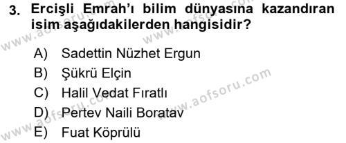 Türk Halk Şiiri Dersi 2016 - 2017 Yılı 3 Ders Sınav Soruları 3. Soru
