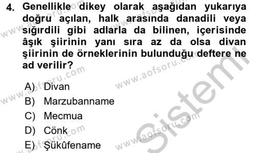Türk Halk Şiiri Dersi 2016 - 2017 Yılı 3 Ders Sınav Soruları 4. Soru