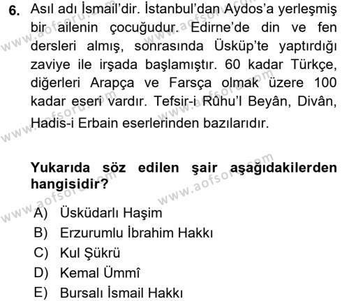 Türk Halk Şiiri Dersi 3 Ders Sınavı Deneme Sınav Soruları 6. Soru