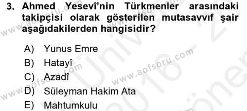 Türk Halk Şiiri Dersi 2016 - 2017 Yılı (Final) Dönem Sonu Sınav Soruları 3. Soru