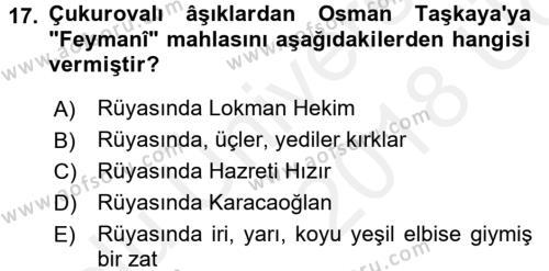 Türk Halk Şiiri Dersi 3 Ders Sınavı Deneme Sınav Soruları 17. Soru