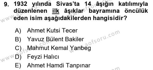 Türk Halk Şiiri Dersi 3 Ders Sınavı Deneme Sınav Soruları 9. Soru