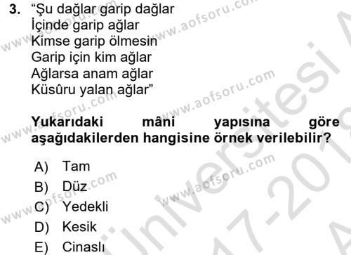 Türk Halk Şiiri Dersi Ara Sınavı Deneme Sınav Soruları 3. Soru