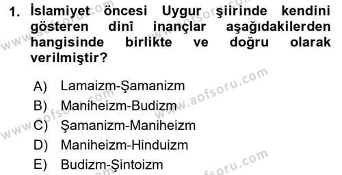 Türk Halk Şiiri Dersi 2017 - 2018 Yılı (Final) Dönem Sonu Sınav Soruları 1. Soru
