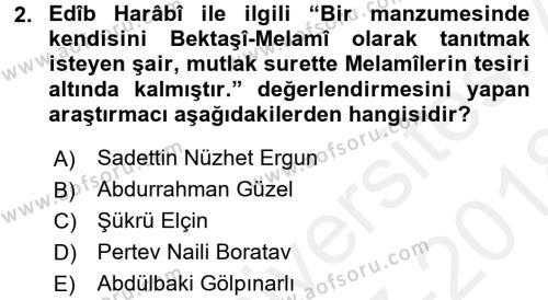 Türk Halk Şiiri Dersi 2017 - 2018 Yılı (Final) Dönem Sonu Sınav Soruları 2. Soru