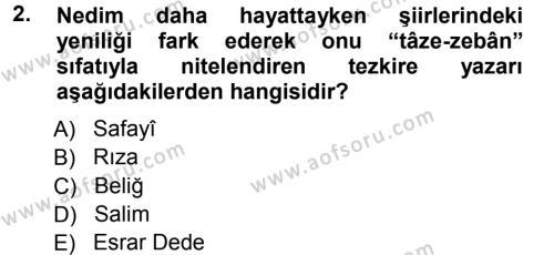 Türk Dili ve Edebiyatı Bölümü 7. Yarıyıl XVIII. Yüzyıl Türk Edebiyatı Dersi 2013 Yılı Güz Dönemi Ara Sınavı 2. Soru