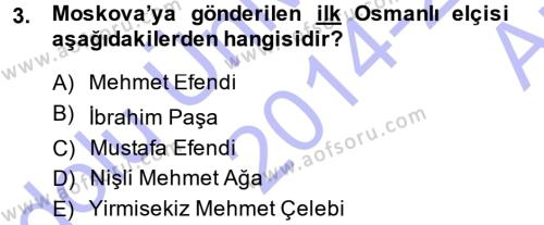 Türk Dili ve Edebiyatı Bölümü 7. Yarıyıl XVIII. Yüzyıl Türk Edebiyatı Dersi 2015 Yılı Güz Dönemi Ara Sınavı 3. Soru