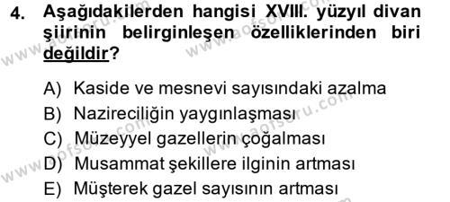 Türk Dili ve Edebiyatı Bölümü 7. Yarıyıl XVIII. Yüzyıl Türk Edebiyatı Dersi 2015 Yılı Güz Dönemi Ara Sınavı 4. Soru