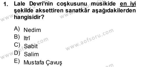 Türk Dili ve Edebiyatı Bölümü 7. Yarıyıl XVIII. Yüzyıl Türk Edebiyatı Dersi 2015 Yılı Güz Dönemi Dönem Sonu Sınavı 1. Soru