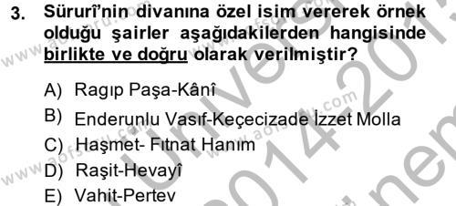 Türk Dili ve Edebiyatı Bölümü 7. Yarıyıl XVIII. Yüzyıl Türk Edebiyatı Dersi 2015 Yılı Güz Dönemi Dönem Sonu Sınavı 3. Soru