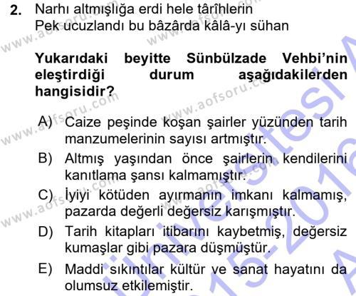 Türk Dili ve Edebiyatı Bölümü 7. Yarıyıl XVIII. Yüzyıl Türk Edebiyatı Dersi 2016 Yılı Güz Dönemi Ara Sınavı 2. Soru