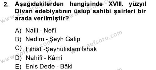 XVIII. Yüzyıl Türk Edebiyatı Dersi 2013 - 2014 Yılı (Vize) Ara Sınav Soruları 2. Soru