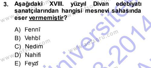 XVIII. Yüzyıl Türk Edebiyatı Dersi 2013 - 2014 Yılı (Vize) Ara Sınav Soruları 3. Soru
