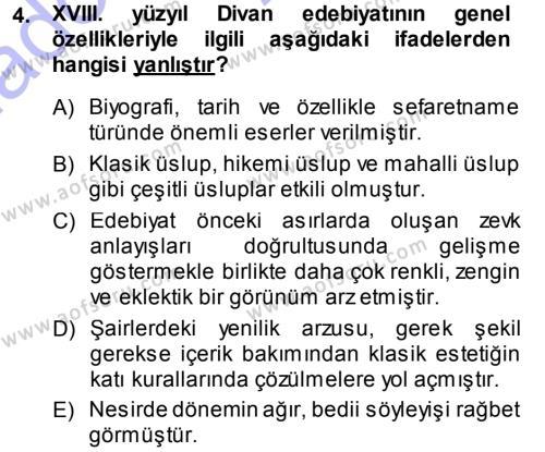 XVIII. Yüzyıl Türk Edebiyatı Dersi 2013 - 2014 Yılı (Vize) Ara Sınav Soruları 4. Soru