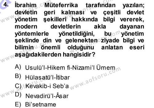 XVIII. Yüzyıl Türk Edebiyatı Dersi 2013 - 2014 Yılı (Final) Dönem Sonu Sınav Soruları 4. Soru