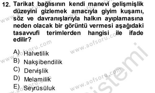 XVIII. Yüzyıl Türk Edebiyatı Dersi Tek Ders Sınavı Deneme Sınav Soruları 12. Soru