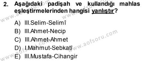 XVIII. Yüzyıl Türk Edebiyatı Dersi 2013 - 2014 Yılı Tek Ders Sınav Soruları 2. Soru