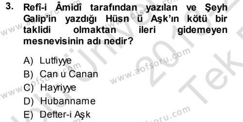 XVIII. Yüzyıl Türk Edebiyatı Dersi 2013 - 2014 Yılı Tek Ders Sınav Soruları 3. Soru