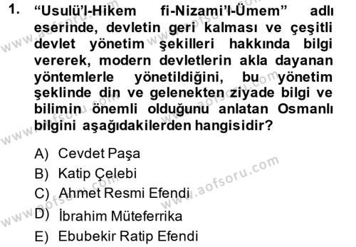 XVIII. Yüzyıl Türk Edebiyatı Dersi 2014 - 2015 Yılı Ara Sınavı 1. Soru