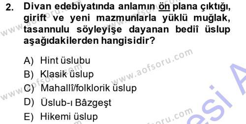 XVIII. Yüzyıl Türk Edebiyatı Dersi 2014 - 2015 Yılı Ara Sınavı 2. Soru