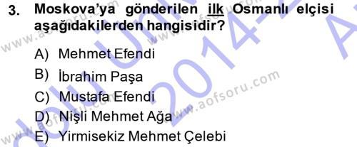 XVIII. Yüzyıl Türk Edebiyatı Dersi 2014 - 2015 Yılı Ara Sınavı 3. Soru