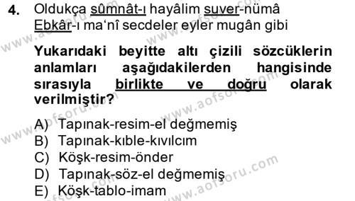 XVIII. Yüzyıl Türk Edebiyatı Dersi 2014 - 2015 Yılı Dönem Sonu Sınavı 4. Soru