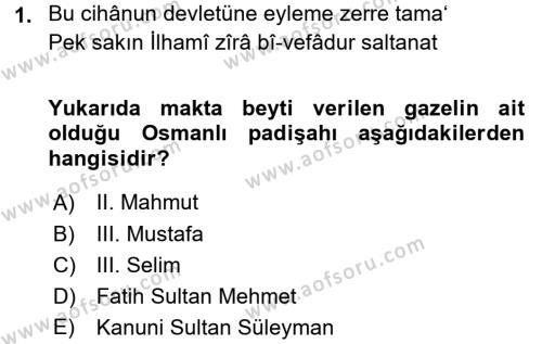 XVIII. Yüzyıl Türk Edebiyatı Dersi 2015 - 2016 Yılı Dönem Sonu Sınavı 1. Soru