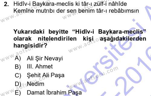 XVIII. Yüzyıl Türk Edebiyatı Dersi 2015 - 2016 Yılı Dönem Sonu Sınavı 2. Soru