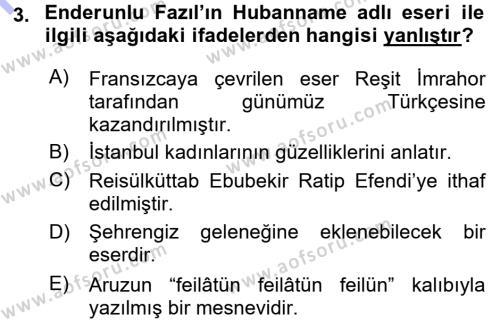 XVIII. Yüzyıl Türk Edebiyatı Dersi 2015 - 2016 Yılı Dönem Sonu Sınavı 3. Soru