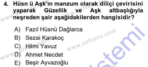 XVIII. Yüzyıl Türk Edebiyatı Dersi 2015 - 2016 Yılı Dönem Sonu Sınavı 4. Soru