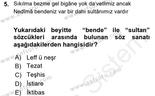 XVIII. Yüzyıl Türk Edebiyatı Dersi Tek Ders Sınavı Deneme Sınav Soruları 5. Soru