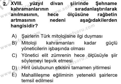 XVIII. Yüzyıl Türk Edebiyatı Dersi 2018 - 2019 Yılı Yaz Okulu Sınav Soruları 2. Soru