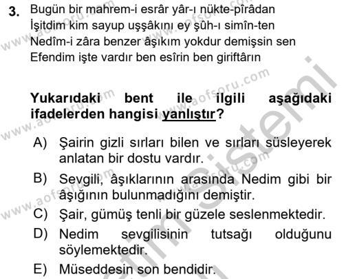 XVIII. Yüzyıl Türk Edebiyatı Dersi 2018 - 2019 Yılı Yaz Okulu Sınav Soruları 3. Soru