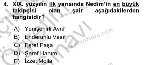 XVIII. Yüzyıl Türk Edebiyatı Dersi 2018 - 2019 Yılı Yaz Okulu Sınav Soruları 4. Soru