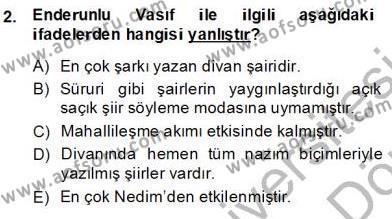 XIX. Yüzyıl Türk Edebiyatı Dersi 2013 - 2014 Yılı (Final) Dönem Sonu Sınav Soruları 2. Soru